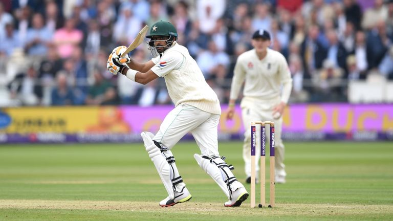 Babar Azam top-scored for Pakistan with 68 before he went off injured following a hit on the forearm