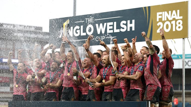 Anglo-Welsh Cup winners Exeter Chiefs celebrate