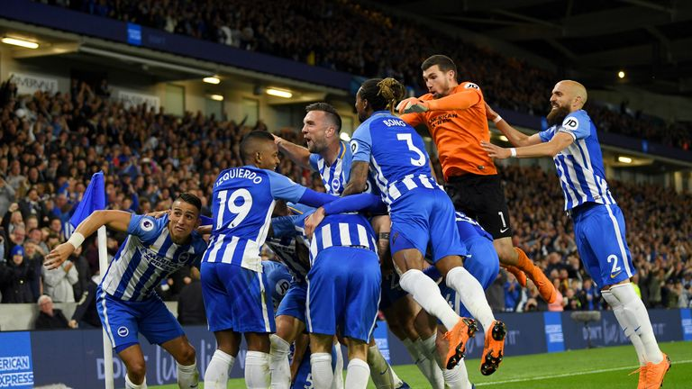Pascal Gross celebrates his winner against Man Utd, which helped Brighton seal their Premier League status