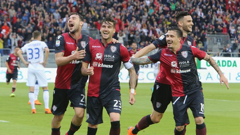 Luca Ceppitelli celebrates his goal which guaranteed Cagliari's survival in Serie A