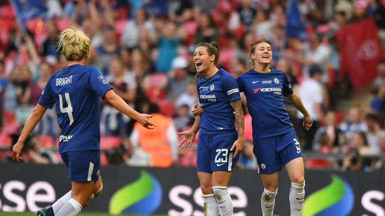 Ramona Bachmann celebrates scoring Chelsea's second goal in the FA Cup final win over Arsenal