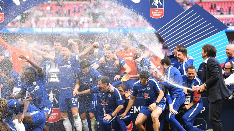 Conte celebrates with his side after their FA Cup triumph at Wembley