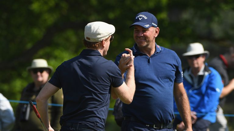 Lewis played alongside Thomas Bjorn at Wentworth