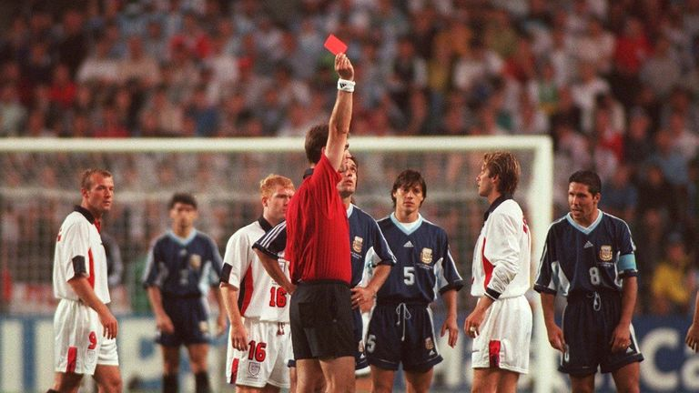 Beckham was sent off for kicking out at Diego Simeone in the second round of the 1998 World Cup - Argentina went on to knock England out on penalties