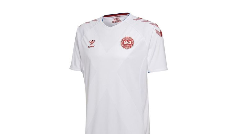 Denmark's away offering is traditional white with the hummel pattern on the sleeves