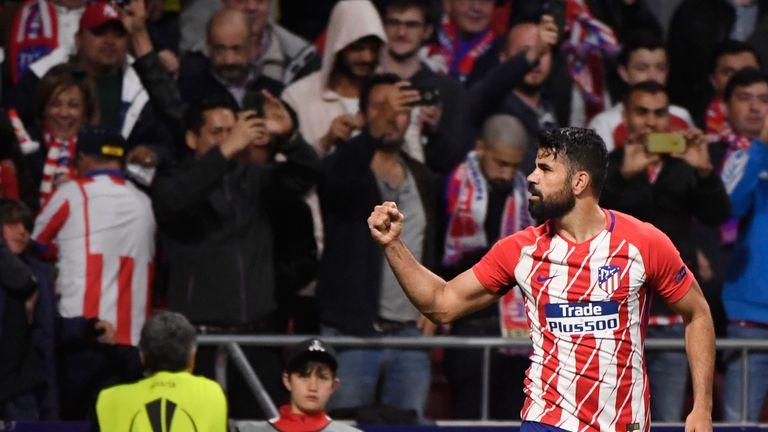Diego Costa celebrates Atletico Madrid's opener against Arsenal