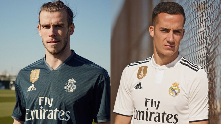 Gareth Bale and Lucas Vazquez model Real Madrid shirts for the 2018 19  season ( bc4f4e38e