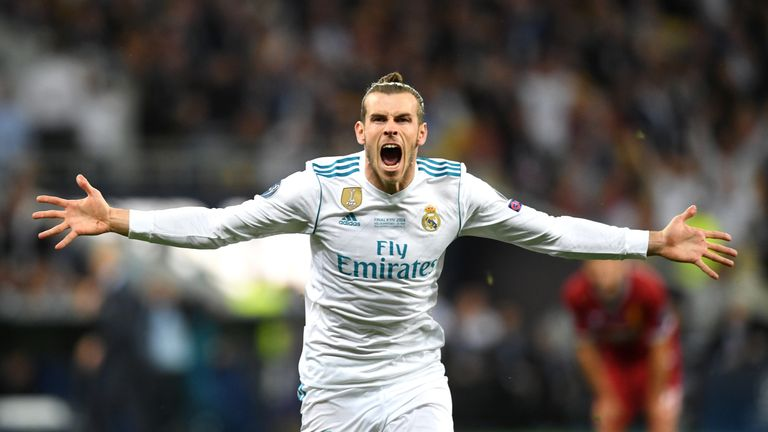 Bale celebrates after his stunning over-head kick