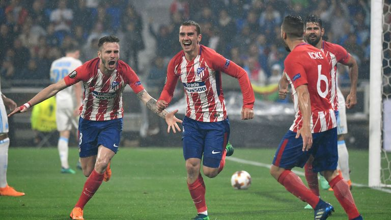 Antoine Griezmann celebrates after scoring twice in the Europa League final