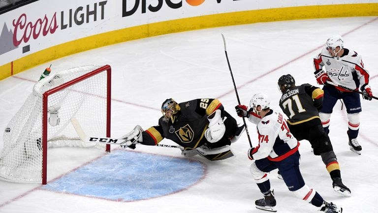 John Carlson fires past Vegas Golden Knights goalkeeper Marc-Andre Fleury to make it 3-3