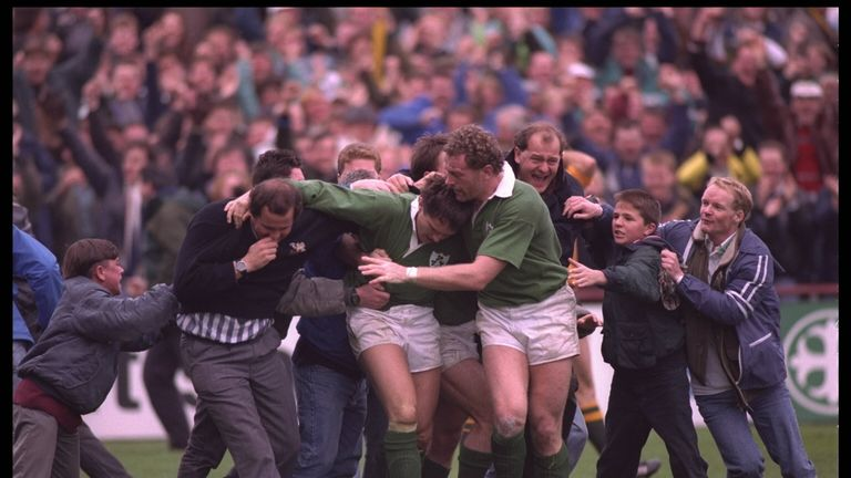 After Hamilton's try, bedlam ensued in Lansdowne Road for a few seconds