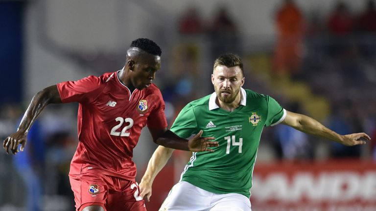 Stuart Dallas battles with Panama's Jose Rodriguez during the international friendly