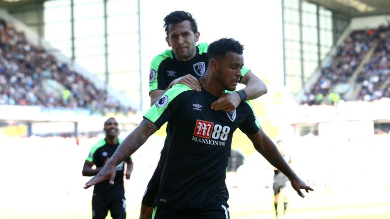 Joshua King celebrates his equaliser with team-mate Charlie Daniels