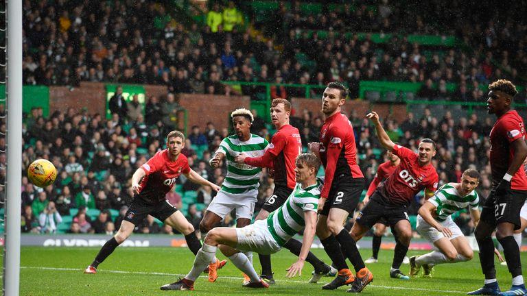 Celtic's Kristoffer Ajer has a first-half effort ruled out for offside