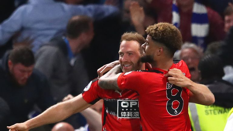 Laurent Depoitre celebrates after scoring the first goal of the game