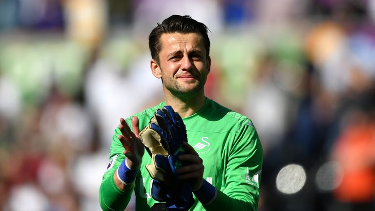 Lukasz Fabianski appeared visibly upset as Swansea City were relegated from the Premier League