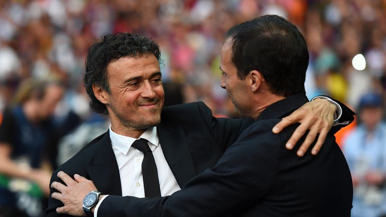 Arsenal are keen to appoint either Luis Enrique (left) or Massimiliano Allegri