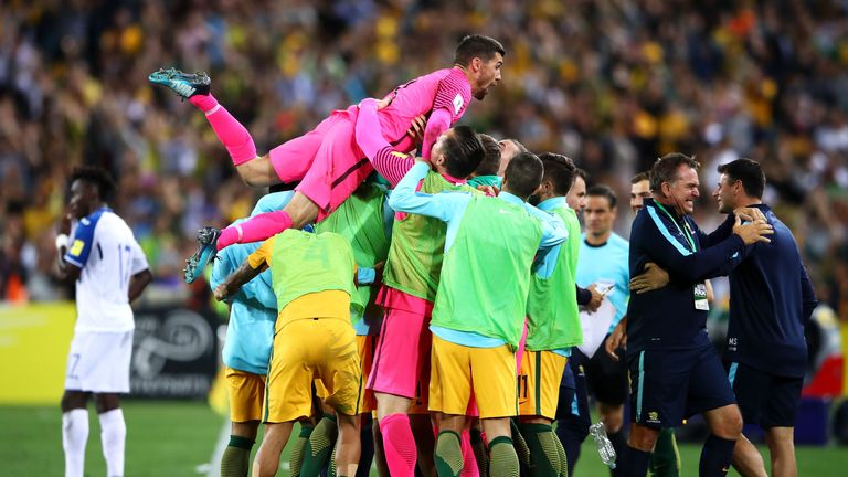 Mat Ryan celebrates Australia reaching the World Cup in Russia