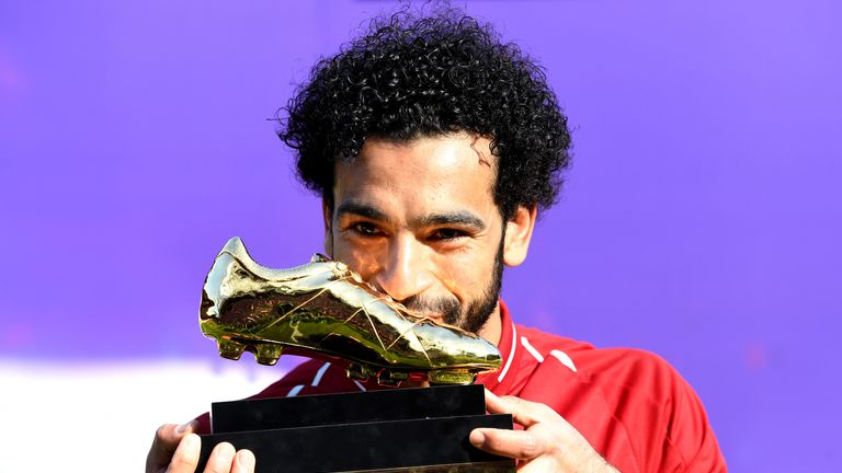 Mohamed Salah poses with his Premier League Golden Boot Award