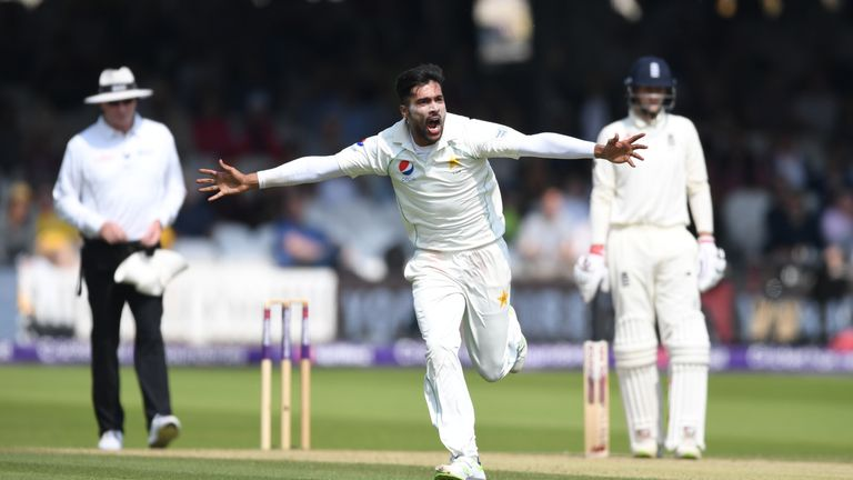 Mohammad Amir bowled Jonny Bairstow during a mini-collapse by England of four wickets for 19 runs