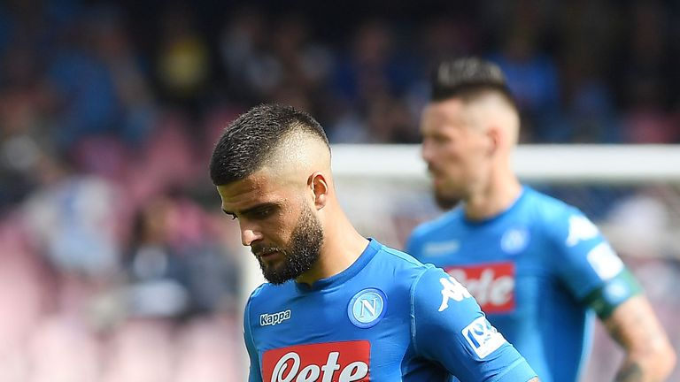 Napoli's Lorenzo Insigne shows his disappointment