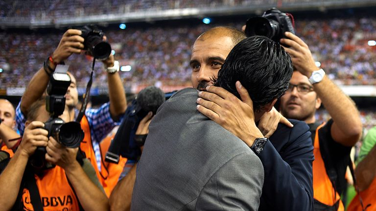 Guardiola embraces Emery during their days in Spain