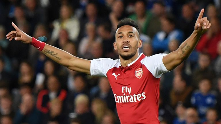 Pierre-Emerick Aubameyang scored 10 Premier League goals in 13 games in his first half-season at Arsenal