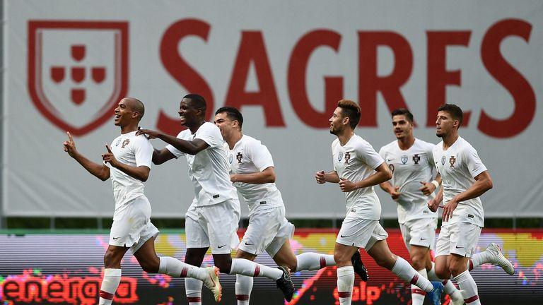 Joao Mario celebrates scoring for Portugal against Tunisia