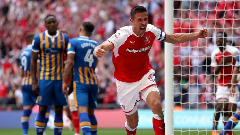 Richard Wood celebrates scoring for Rotherham against Shrewsbury at Wembley