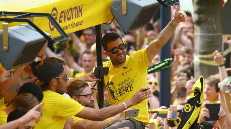 Sokratis celebrates Dortmund's DFB-Pokal triumph in 2017 during a parade
