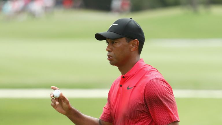 Tiger Woods shared second place until a poor finish to his final round