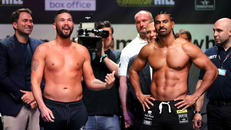 Tony Bellew will renew his rivalry with David Haye in Saturday's heavyweight rematch, live on Sky Sports Box Office