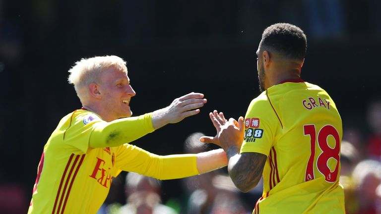 Will Hughes (left) and Andre Gray celebrate Watford's second goal against Newcastle