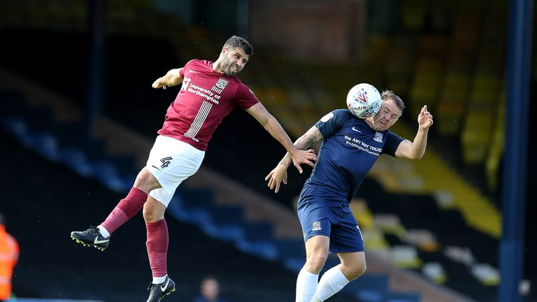 Battling for the ball for Southend against Northampton at Roots Hall