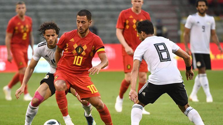 Eden Hazard in action for Belgium in a recent friendly