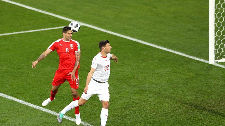 Alexandar Mitrovic scores Serbia's first goal against Switzerland
