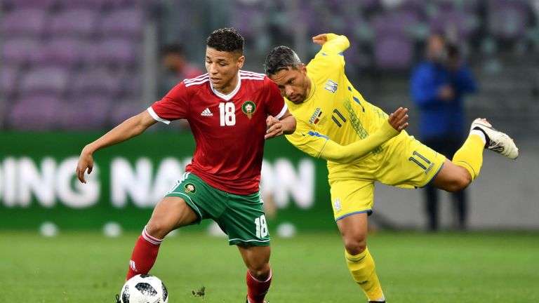 Amine Harit (L) in action for Morocco