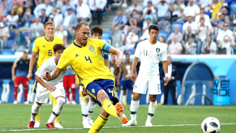 Andreas Granqvist puts Sweden ahead from the penalty spot