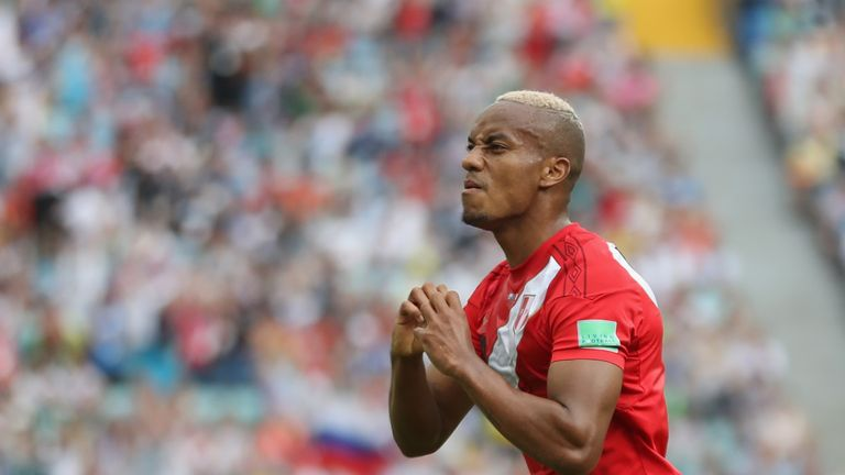 Andre Carrillo scored Peru's first goal at a World Cup since Guillermo La Rosa against Poland in 1982