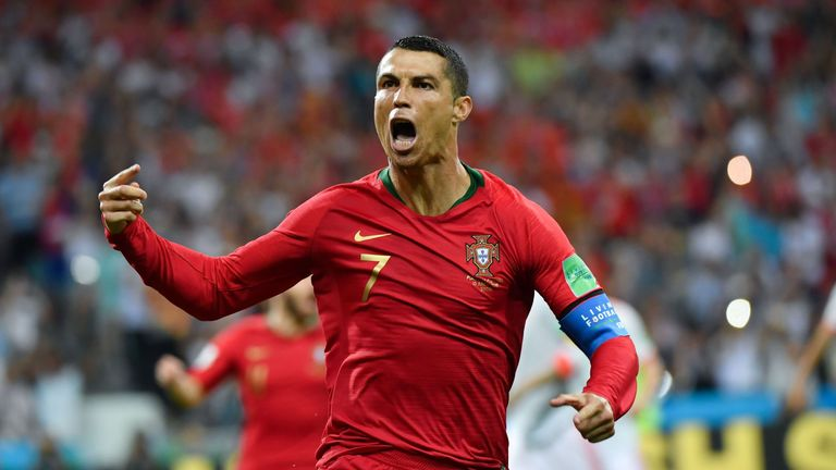 Cristiano Ronaldo scored a hat-trick for Portugal against Spain