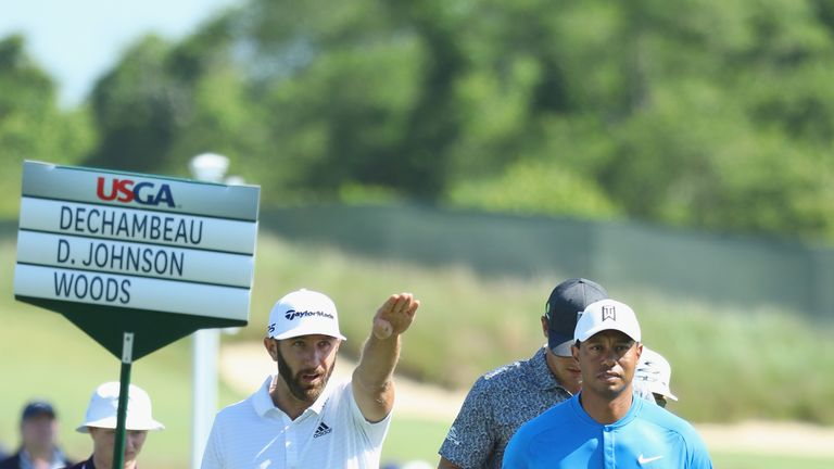 Dustin Johnson and Tiger Woods played a practice round together on Tuesday