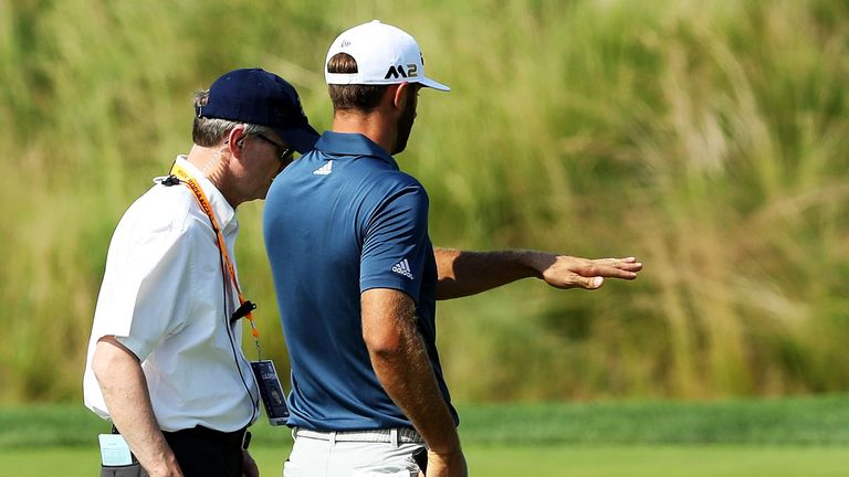 Dustin Johnson discusses the rule after his ball moves at Oakmont in 2016