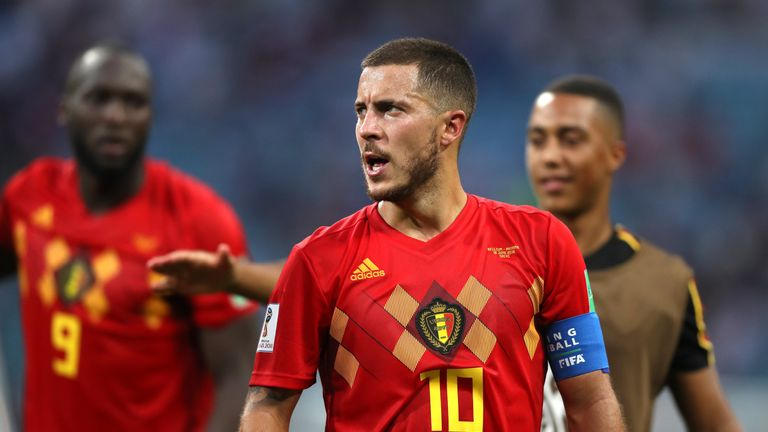 Eden Hazard at full-time in the 2018 World Cup, group G match between Belgium and Panama at Fisht Stadium on June 18, 2018
