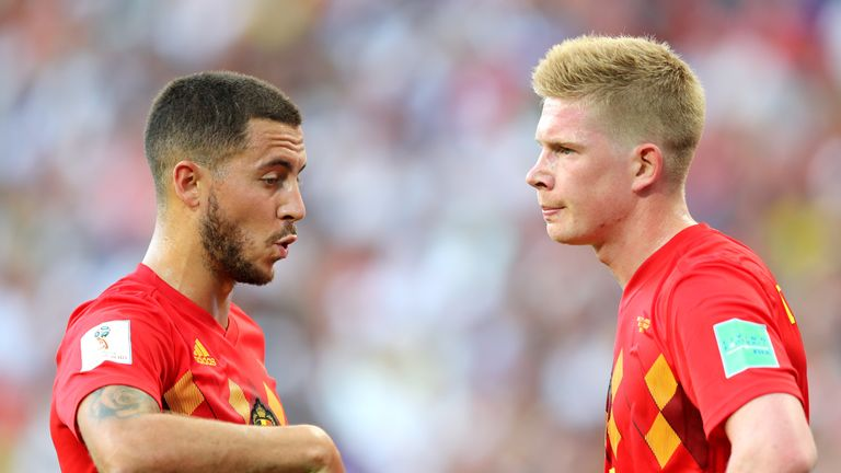 Belgium will look to Eden Hazard (left) and Kevin De Bruyne to help get them past Japan on Monday