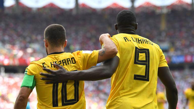 Eden Hazard celebrates his second and Belgium's fourth goal with Romelu Lukaku