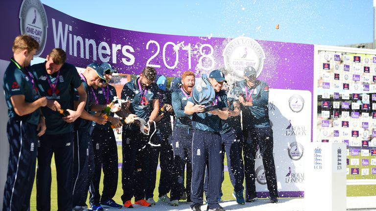 England celebrate their 5-0 ODI series whitewash win over Australia