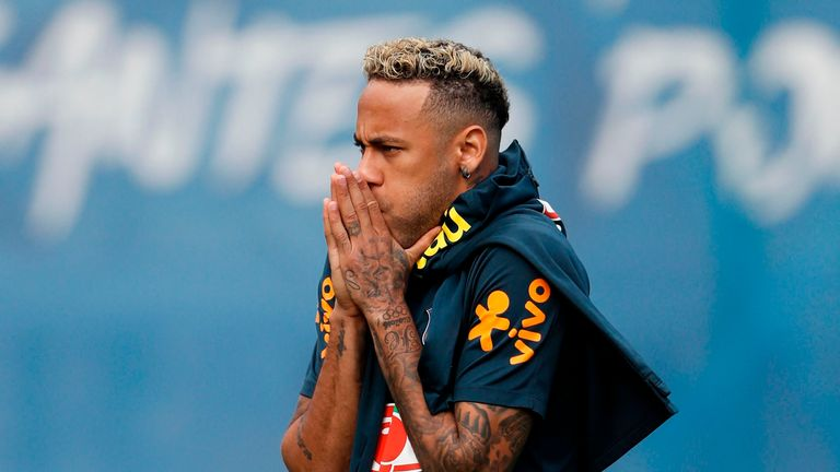 Neymar limped out of Brazil training