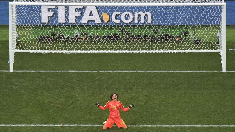 Guillermo Ochoa celebrates after Mexico achieve a shock 1-0 win against Germany