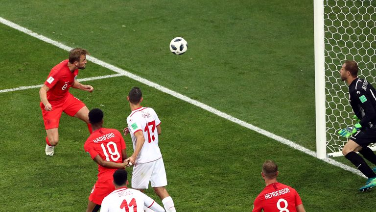 Harry Kane headed an injury-time winner for England against Tunisia