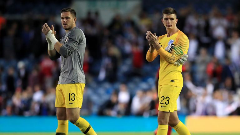 Nick Pope (right) will battle Jack Butland (left) and Jordan Pickford for a place in the England side
